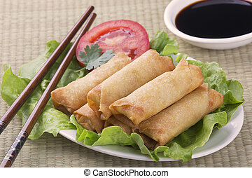 Traditional Chinese Spring Rolls with a dipping sause of soy...