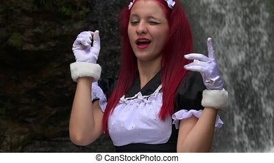Cosplay Girl In Maid Costume