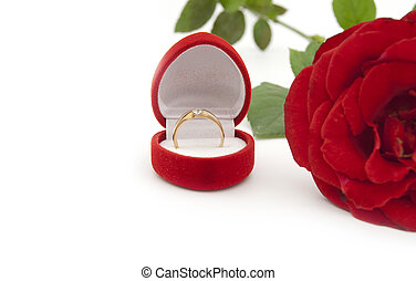Gold ring in a box - a gift for a beloved