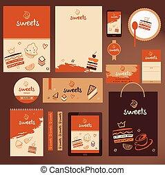 Vector stationery template design for cafe, shop. Branding desig