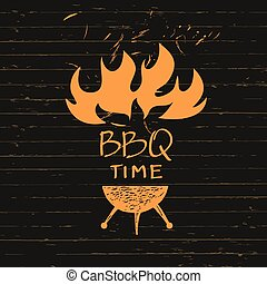 Illustration with sparks of fire for BBQ time.  Print restaurant menu, posters, banner.