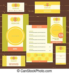 Template logo and corporate identity, identification of vegetarian cafe, vegan food. A set of stationery items menu. The logo depicts a plate, a fork and a boat, a tree. Bright, juicy, color, orange, green. A healthy breakfast, lunch and dinner.