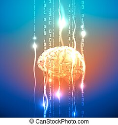 Abstract concept of human brain activity - Stream of Binary...