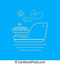 Cargo Ship, Line Style Design - Cargo Ship , Marine Emblem...