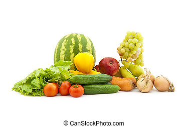 Set of various vegetables and fruit on a white background