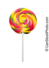 Lollipop on white - Colorful sweet lollipop isolated on...