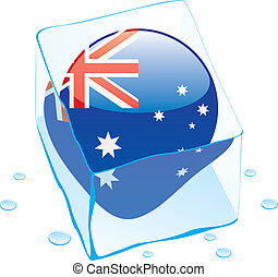 australia button flag frozen in ice