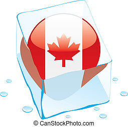 canada button flag frozen in ice