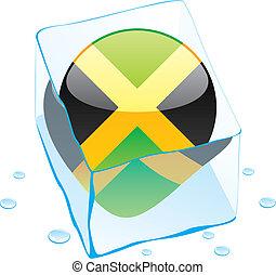 jamaica button flag frozen in ice