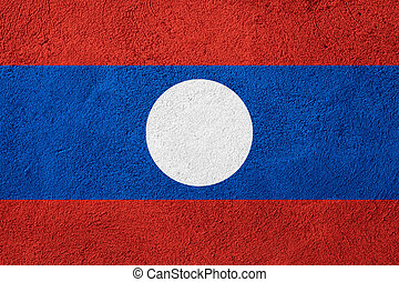 flag of Laos or Laotian banner on rough pattern background