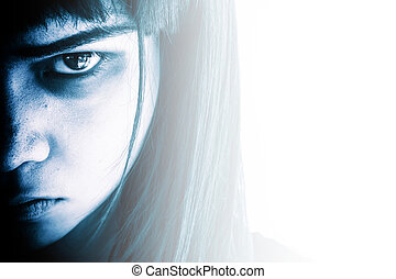 Portrait of scary girl - Aggressive woman with scary...