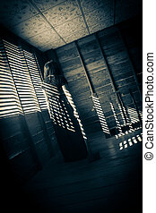 Ghost girl in haunted house - Mysterious girl in black dress...