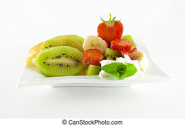 Summer fruit salad on a square dish
