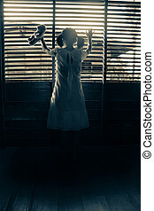 Ghost girl in haunted house - Mysterious girl in white dress...