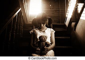 fantasma, casa, menina, assombrado