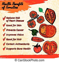 Tomato vector Image - Health benefits of ripe tomatoes...