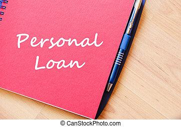 personal, escribir, préstamo, cuaderno