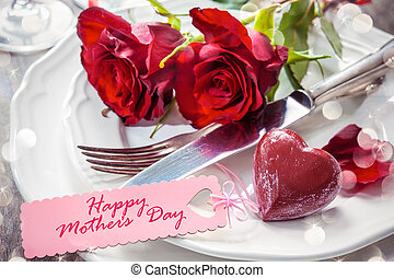 Place setting for Mothers day - Festive place setting for...