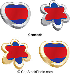 cambodia flag in heart and flower - fully editable vector...