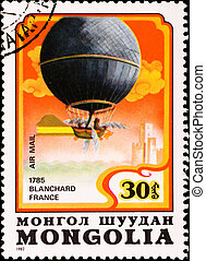 postage stamp shows air balloon Blanchard France - MONGOLIA...