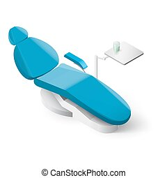 Dentist Tools - Isometric Dentist Chair on White Background...