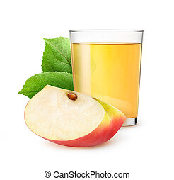 Isolated glass of apple juice - Glass of apple juice...