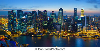 Singapore downtown at night, aerial view