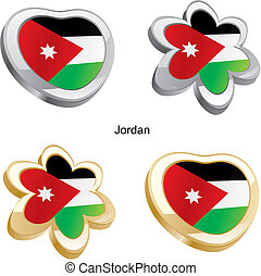 jordan flag in heart and flower - fully editable vector...