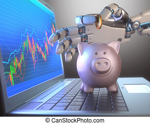 Robot Trading System And Piggy Bank - Image concept of...
