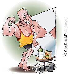 Bodybuilder in love vector cartoon illustration