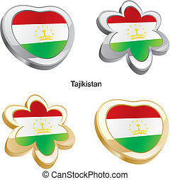 tajikistan flag in heart and flower - fully editable vector...