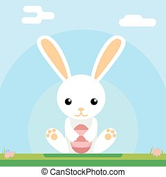 Easter bunny hold egg icon sky background template flat...