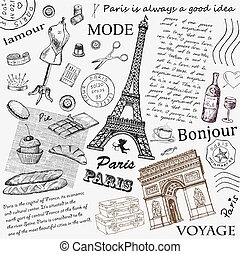 Paris Eiffel Tower. hand drawing set of vector sketches