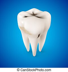 Dentist Symbol - Isometric Concept of Human Tooth with...