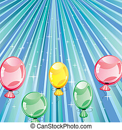 Birthday blue background - Bithday card with baloons on blue...