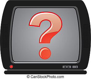 Vintage TV isolated over white background with question on the screen, vector illustration
