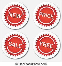 Red sale tags, vector illustration