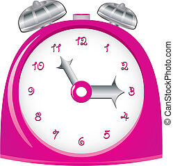 Vintage pink alarm clock, vector illustration
