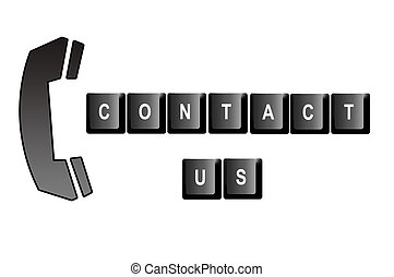 Contact us written with computer keyboard letters and a...