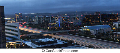 City lights highway aerial view