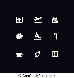 Airport white icons - White airport icons on dark background...
