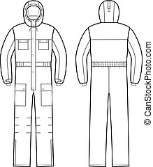 Overalls - Vector illustration of overalls with hood. Front...
