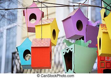 hermoso, ciudad, centro, colorido,  lviv, Ucrania,  Birdhouses