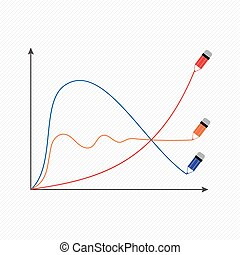 The stylized vector image of a graphical economic Graphics:...