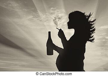 silueta, de, Un, embarazada, mujer,
