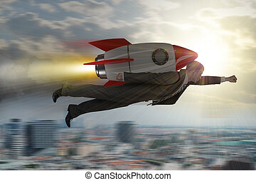 Businessman flying with rocket above city in sky