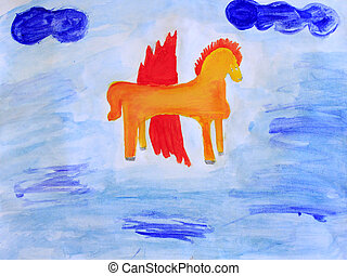 childish drawing of Pegasus on the blue - colored and funny...
