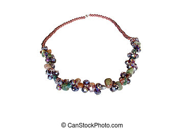 Necklace made of jasper and zirconr on a white background