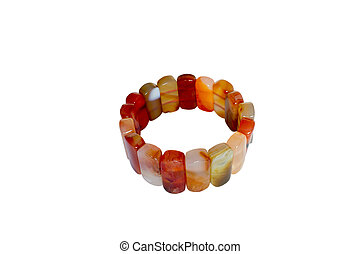 bracelet carnelian - Bracelet made of carnelian Isolate on...