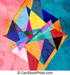 abstract watercolor geometric background - Abstract colorful...